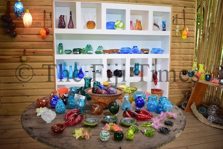 Some of the glass pieces created at the Hot Glass Fiji studio in Korotogo,, Sigatoka. Picture: JOVESA NAISUA