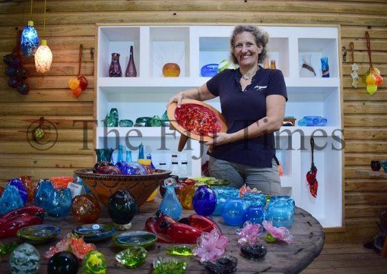 Some of the glass pieces created at the Hot Glass Fiji studio in Korotogo,, Sigatoka. Picture: JOVESA NAISUA